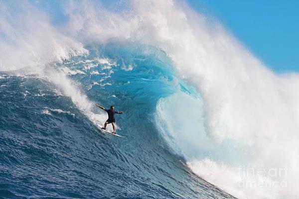 Wall Art - Photograph - Usa, Hawaii Islands, Maui, Surfer On Huge Wave_ Peahi-jaws by Dave Fleetham