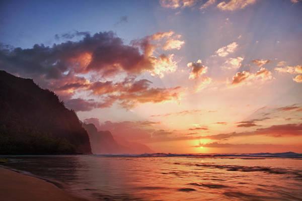 Away From It All Wall Art - Photograph - Usa, Hawaii, Kauai, Coast, Sunset by Terry Eggers