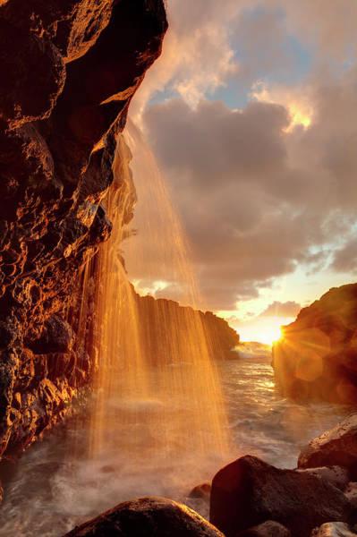 Queens Bath Photograph - Usa, Hawaii, Kauai, Waterfall by Michele Falzone