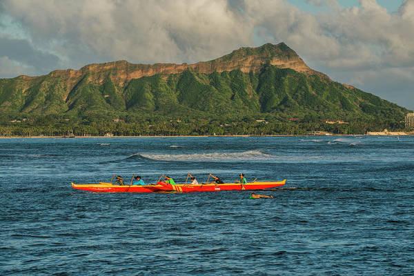 Outrigger Canoe Photograph - Usa, Hawaii, Oahu, Honolulu, Diamond by Peter Hawkins