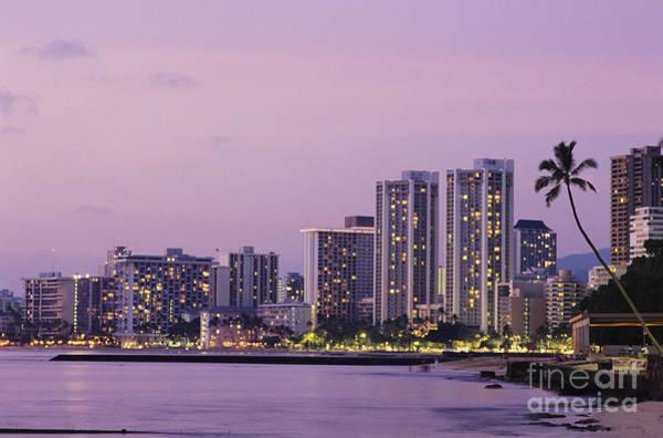Wall Art - Photograph - Usa, Hawaii, Oahu, Honolulu, Hotels On Waikiki Beach At Dusk_ Waikiki by Robert Sablan