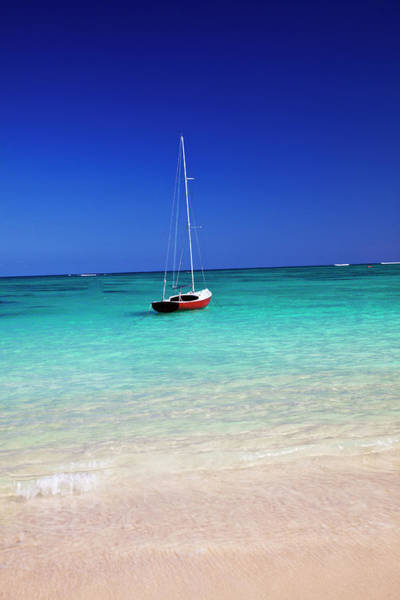 Away From It All Wall Art - Photograph - Usa, Hawaii, Oahu, Sail Boat At Anchor by Terry Eggers