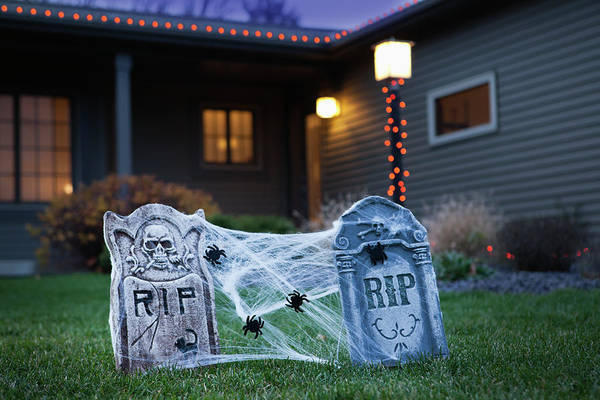 Grave Yard Photograph - Usa, Illinois, Metamora, Halloween by Vstock Llc