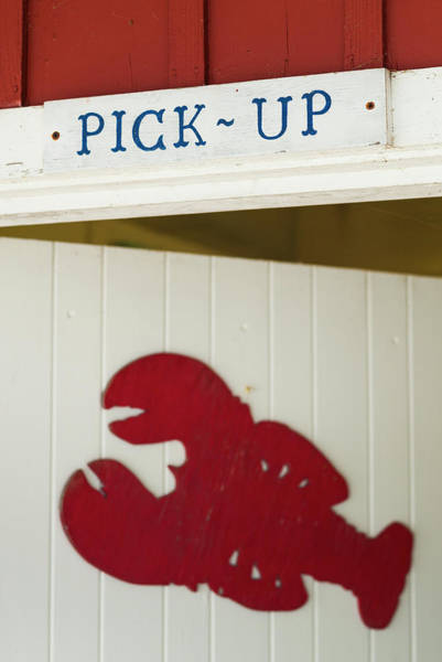 Lobstering Photograph - Usa, Maine, Freeport, Lobster Pound Sign by Walter Bibikow