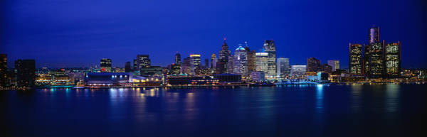 Wall Art - Photograph - Usa, Michigan, Detroit, Night by Panoramic Images