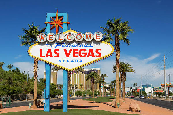 Boulevard Photograph - Usa, Nevada, Las Vegas, Welcome Sign On by Sylvain Sonnet