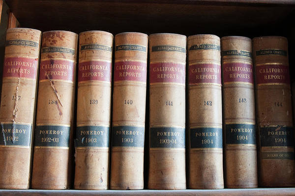 Book Shelf Photograph - Usa, Nevada Old Law Books In Library by Michael Defreitas