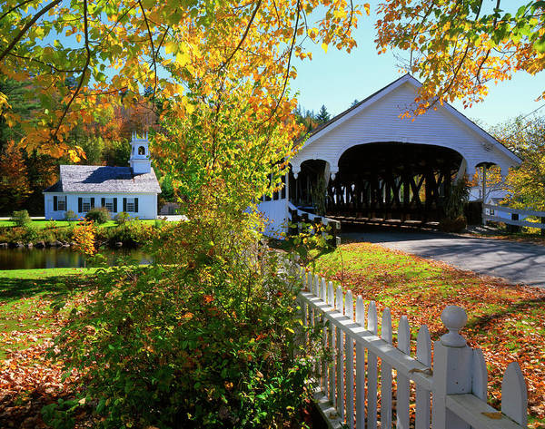 Covered Bridge Photograph - Usa, New Hampshire, Stark by Jaynes Gallery