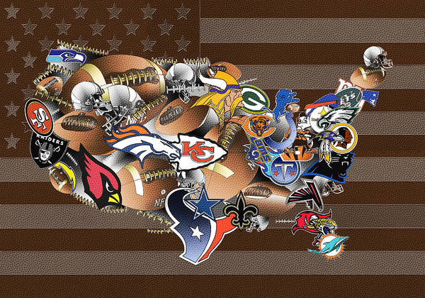 Stitch Painting - Usa Nfl Map Collage 2 by Bekim Art