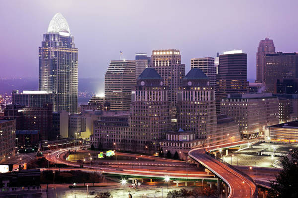 Dawn Photograph - Usa, Ohio, Cincinnati Skyline At Dawn by Tetra Images - Henryk Sadura