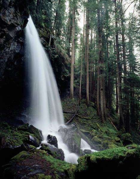 Oregon Ridge Photograph - Usa, Oregon, A Waterfall In An by Jaynes Gallery