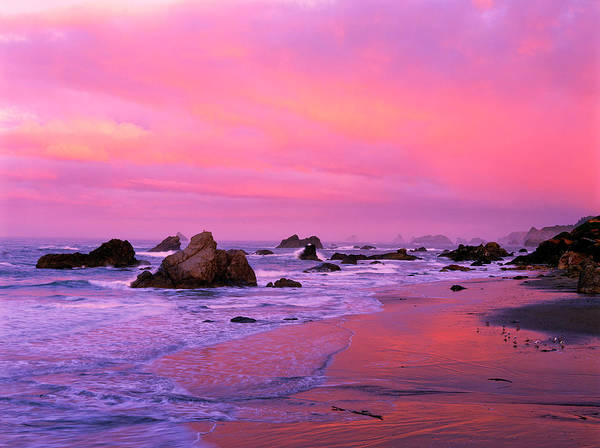 Alpenglow Photograph - Usa, Oregon, Harris State Beach by Jaynes Gallery