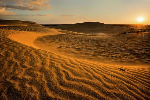 Oregon Dunes Photograph - Usa, Oregon, Lake County, Sunrise Over by Gary Weathers