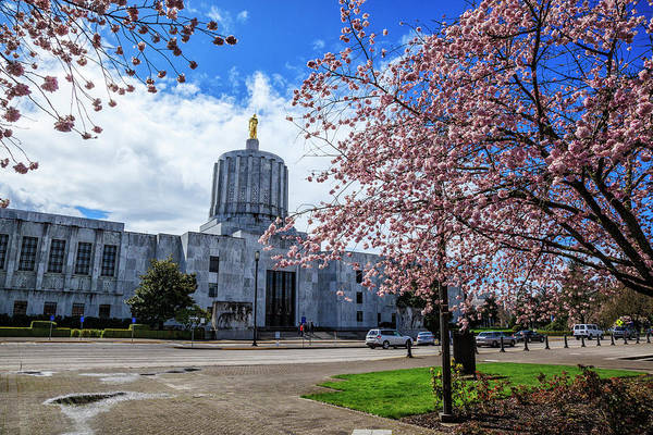 Us Capitol Photograph - Usa, Oregon, Salem, State Capitol by Rick A Brown