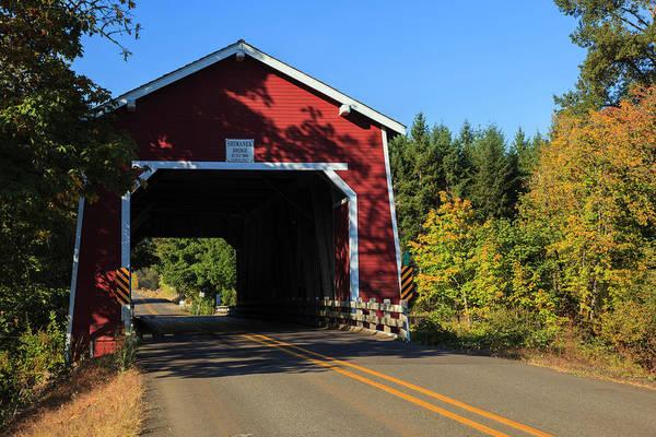 Red Covered Bridge Photograph - Usa, Oregon, Scio, The Shimanek by Rick A Brown