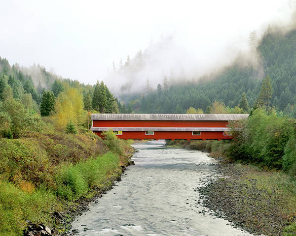Red Covered Bridge Photograph - Usa, Oregon, Westfir by Jaynes Gallery