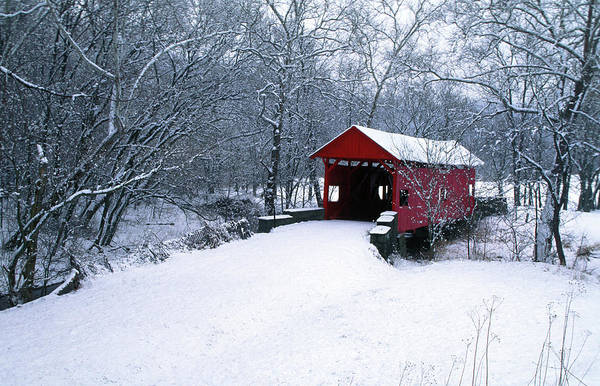 Red Covered Bridge Photograph - Usa, Pennsylvania, Mariana County by Jaynes Gallery