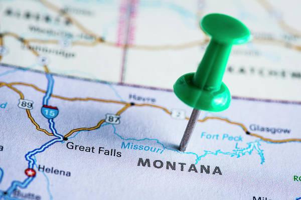 Usa Map Photograph - Usa States On Map Montana by Ilbusca