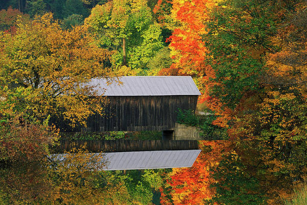 Covered Bridge Photograph - Usa, Vermont Covered Bridge And Autumn by Jaynes Gallery
