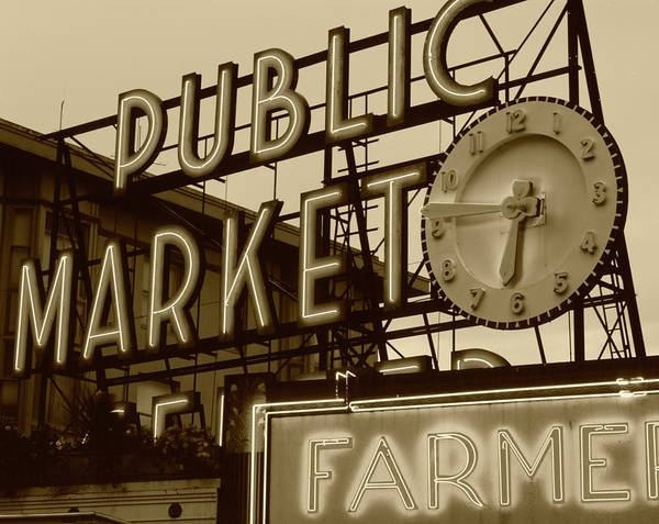Pikes Place Photograph - Usa, Washington State, Seattle, View by Walter Bibikow
