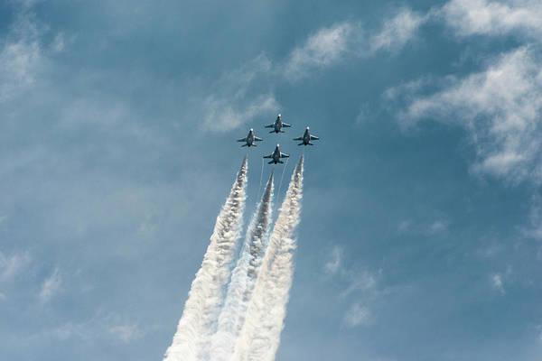 Air Show Photograph - Usaf Thunderbirds Flying In Formation by Sheila Haddad