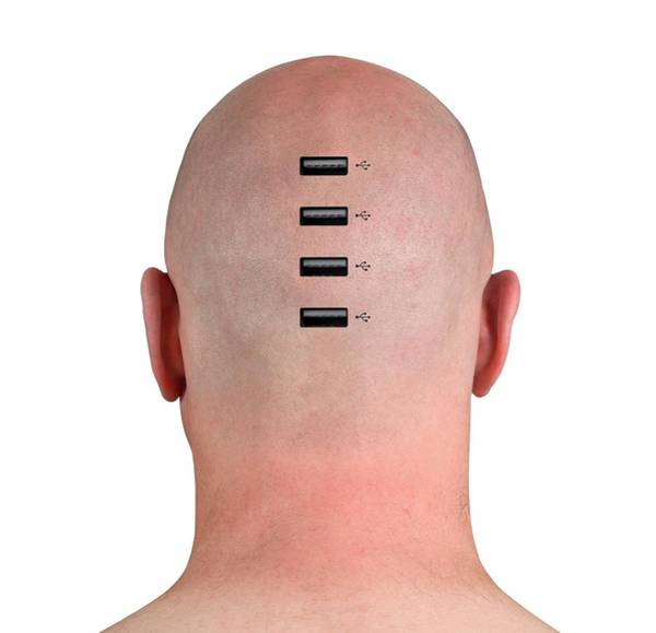 Shaved Photograph - Usb Ports In Person's Head by Victor De Schwanberg