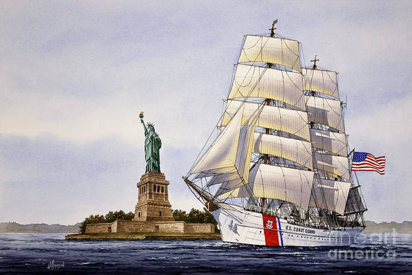 Wall Art - Painting - Uscg Eagle by James Williamson