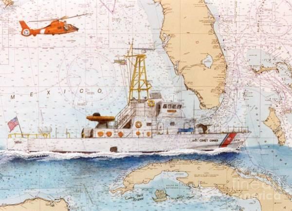 Cathy Painting - Uscg Sapelo Helicopter Fl Nautical Chart Map Art Peek by Cathy Peek