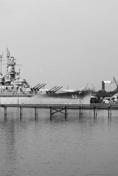 Digital Art - Uss Alabama Side Bw by Michael Thomas