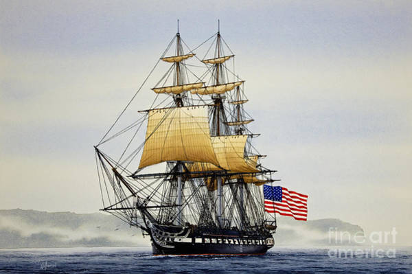 Tall Ships Wall Art - Painting - Uss Constitution by James Williamson