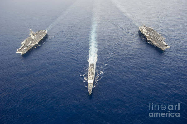 Uss George Washington Wall Art - Photograph - Uss George Washington, Uss Mobile Bay by Stocktrek Images