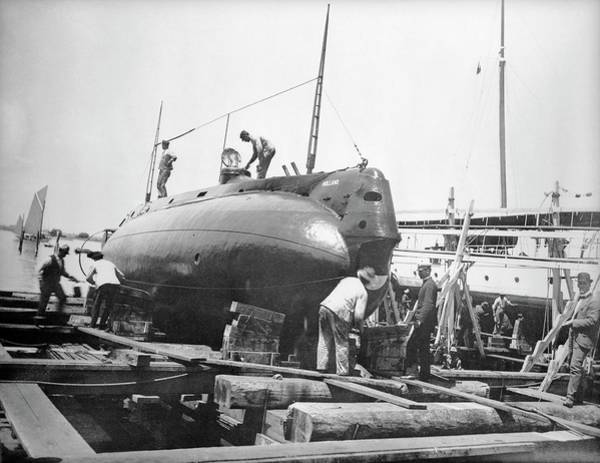 Dry Dock Photograph - Uss Holland Submarine by Us National Archives