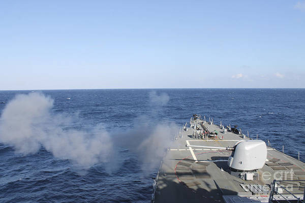 Mounted Shooting Photograph - Uss Mahan Fires A 5-inch Gun by Stocktrek Images