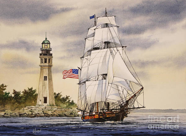Tall Ships Wall Art - Painting - Uss Niagara by James Williamson