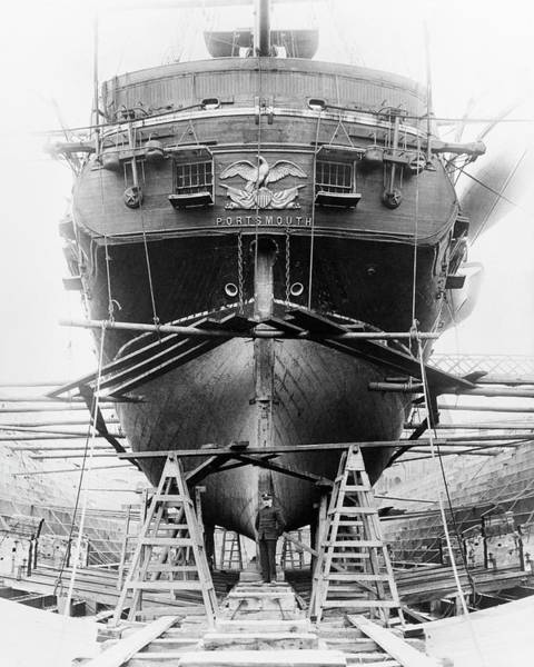 Dry Dock Photograph - Uss Portsmouth In Dry Dock by Us Navy/naval History And Heritage Command/science Photo Library