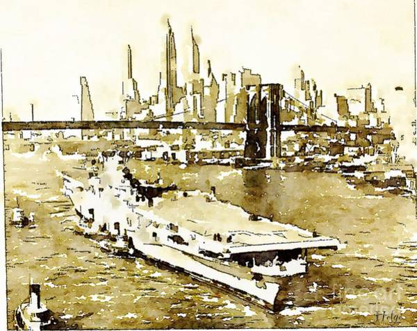Painting - Uss Tarawa Nyc And Brooklyn Bridge by Helge