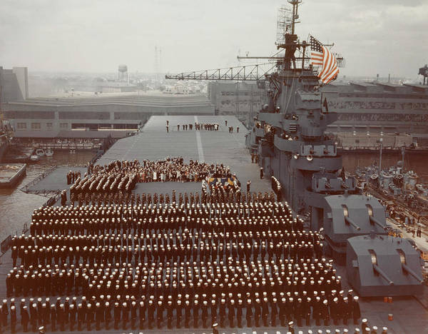 Shipmates Photograph - Uss Yorktown Crew Stands At Attention by Stocktrek Images