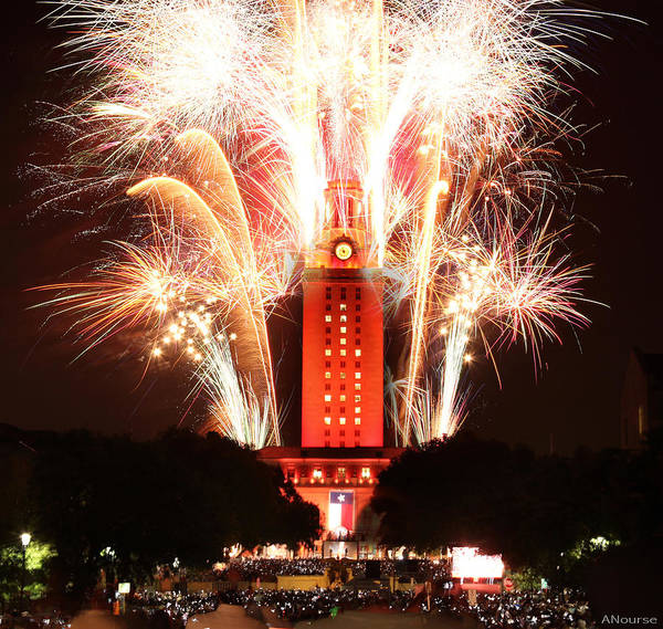 Wall Art - Photograph - Ut Tower 2013 Fireworks by Andrew Nourse