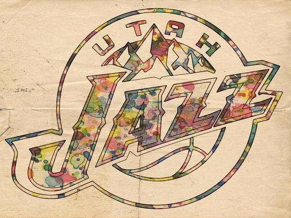 Wall Art - Painting - Utah Jazz Poster Art by Florian Rodarte
