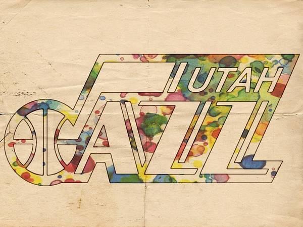 Painting - Utah Jazz Retro Poster by Florian Rodarte