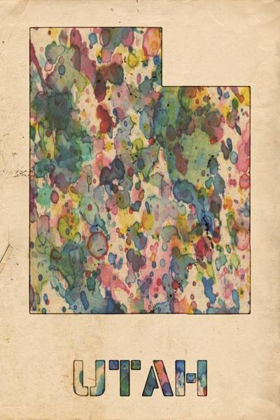Painting - Utah Map Vintage Watercolor by Florian Rodarte