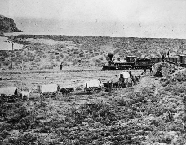 Promontory Point Photograph - Utah Railroad, 1869 by Granger