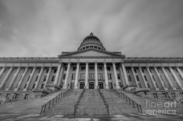 Capitol Building Photograph - Utah State Capitol Building Bw by Michael Ver Sprill
