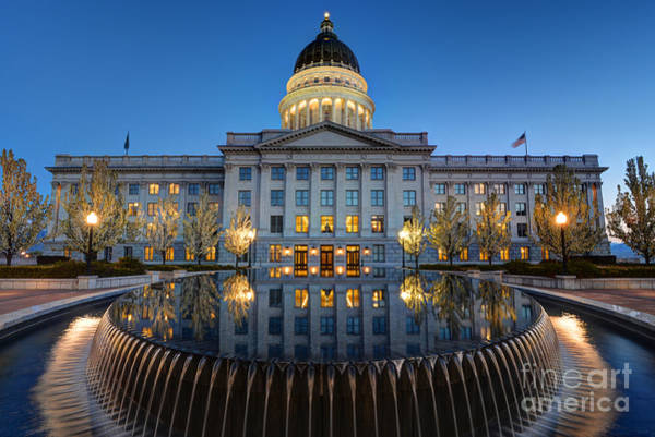 Capitol Photograph - Utah State Capitol In Reflecting Fountain At Dusk by Gary Whitton