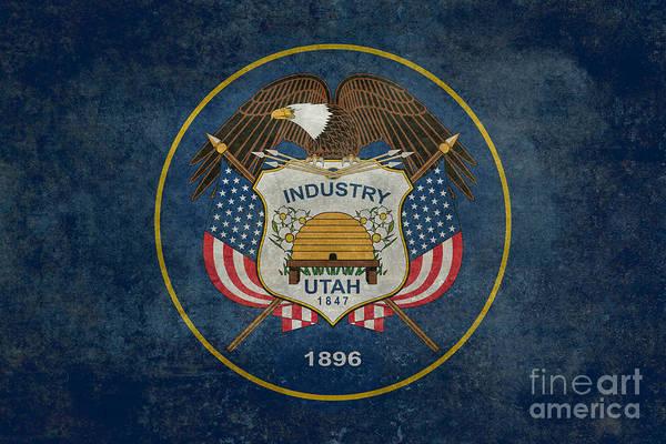 Wall Art - Digital Art - Utah State Flag Vintage Version by Bruce Stanfield