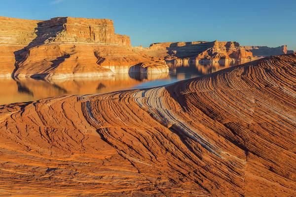 Don Photograph - Utah Weathering Pit Ridge At Lake by Jaynes Gallery