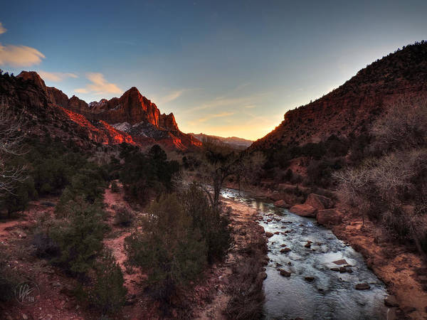 Photograph - Utah - Zion Sunset On The Virgin River 001 by Lance Vaughn