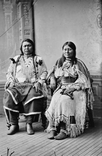 Buckskin Photograph - Ute Chief And Wife, 1880 by Granger