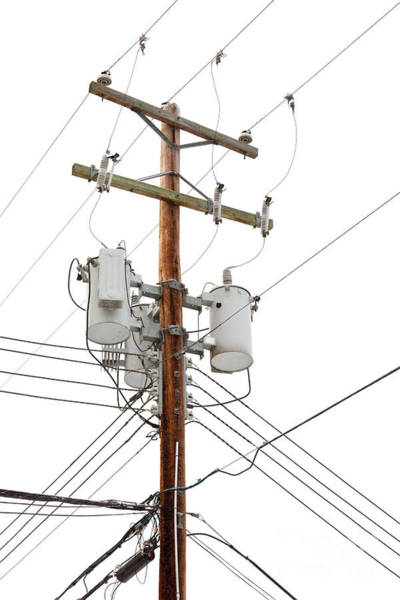 Isolator Wall Art - Photograph - Utility Pole With Power Cables And Transformers by Stephan Pietzko