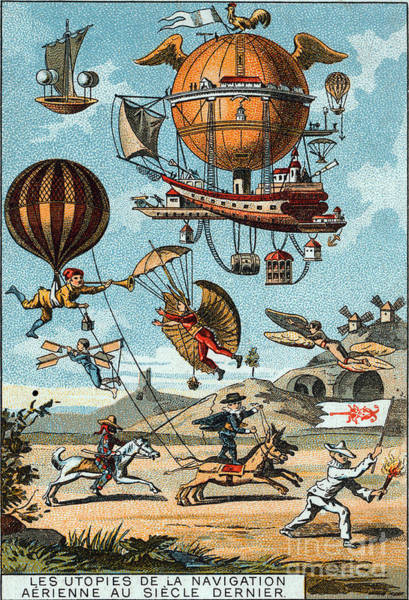 Photograph - Utopian Flying Machines 19th Century by Science Source